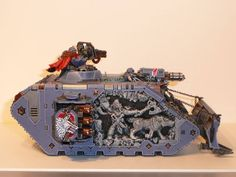 "Amazing ""mural reliefs"" on this Space Wolves Land Raider by BobPanda - 40k"