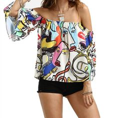 407c21817095 New Style Women Casual Print Sexy Flare Sleeve Strapless Tops Blouse Sexy  Fashion Hot Sales Wolovey