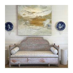 Antique Swedish trundle daybed, delft chargers, Luc Leestemaker painting - Amy Meier Design Storefront Studio, Rancho Santa Fe, CA