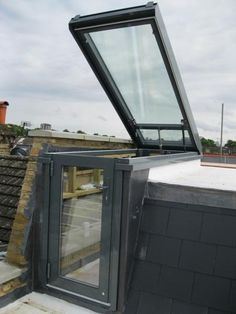 Click For Larger View - Lift Top Stair to Roof Access Rooflight Hatch with Access Door Sash