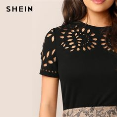 SHEIN Elegant Black Laser Cut Form Fitting Tee Solid T Shirt Women Summer O-Neck Hollow out Office Lady Workwear Tshirt Tops - buy at the price of $8.67 in aliexpress.com | imall.com Summer Blouses, Summer Shirts, Cut Clothes, Clothes For Women, Long Skirt And Top, Laser Cutter Ideas, Cutwork, Workout Tops, Laser Cutting