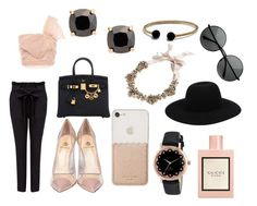 """black and blush"" by haileyyyyc ❤ liked on Polyvore featuring RED Valentino, Hermès, Off-White, Semilla, Kate Spade, J.Crew, Gucci and David Yurman"