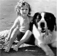 Shirley Temple with a Saint Bernard