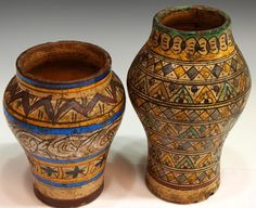 ANTIQUE MOROCCAN POTTERY SPICE JARS & PITCHER : Lot 439