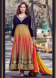 diya mirza multi color premium net on velvet anarkali suit with embroidery work, thread work, resham work,with matching chiffon dupatta Shop at https://www.ethnicforever.com/catalog/product/view/id/4736/s/multicolour-embroidered-threadwork-anarkali-suit/ Price $119.67 Enjoy 15% off on applying our coupon code