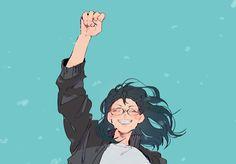 Kiyoko is so happy! Hinata, Kageyama, Haikyuu Fanart, Haikyuu Ships, Haikyuu Anime, Haikyuu Volleyball, Volleyball Anime, Shimizu Kiyoko, Manga Anime
