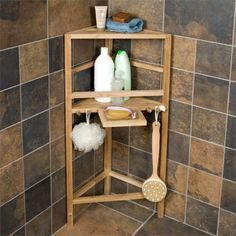 Freestanding Teak Corner Shower Shelf with Removable Soap Dish - Shower Caddies - Bathroom Accessories - Bathroom