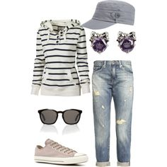 Leave off the hat and add a messy updo and that a nice weekend, running errands outfit