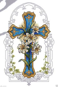 """""""Lilies and the Cross"""" counted cross stitch pattern leaflet."""