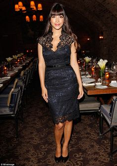 Lady in black: Actress Hannah Simone also went for lace during the evening in West Hollywood