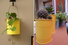painted tin can craft ideas cactus decoration vases