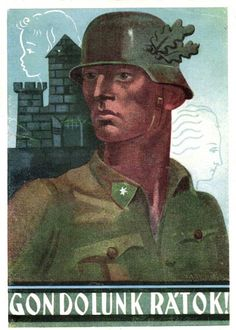 """""""Think About It!"""", Hungarian recruiting poster, WWII"""