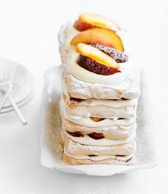 brown sugar pavlova & peach stack