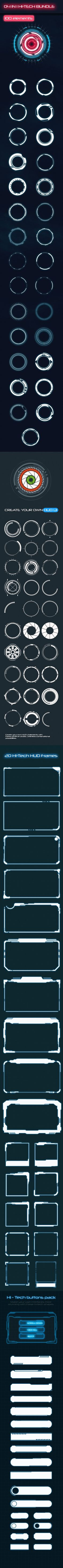 Hi-Tech Big Bundle 2 (100 Elements) - Shapes Photoshop