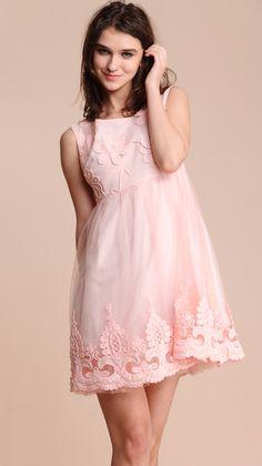 #SheInside  Pink Sleeveless Flower Embroidery Gauze Short Dress - Sheinside.com