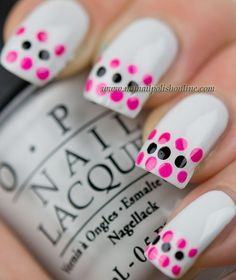 Dotticure with french tips on white  http://www.mynailpolishonline.com/2013/01/nail-art-2/dotticure-with-french-tips-on-white/
