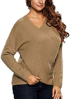 Damen V Ausschnitt Loose Strick Pullover Cross Wrap Sweater Khaki S  Amazon. de  8ce48503fc