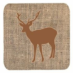 Set of 4 Deer Burlap and Brown Foam Coasters