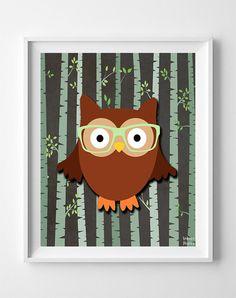 Owl Animal Woodland Baby Room Poster Nursery Artwork Print Kids Room Wall Art Home Decor - BB - Unframed Nursery Artwork, Kids Room Wall Art, Nursery Room Decor, Nursery Prints, Church Nursery, Artwork Prints, Poster Prints, Owl Pet, Animal Nursery