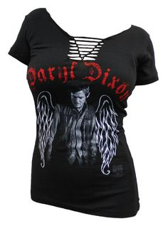 If anyone got me this shirt, I would cry. Just fall on my face and freaking CRY!! <3   Daryl's wings. From- http://www.tvmoviedepot.com/walking-dead-daryl-dixon-ladies-junior-braided-tshirt-black-p-23583.html