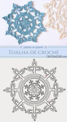 My Crochet Dream Crochet Snowflake Pattern, Crochet Mandala Pattern, Crochet Flower Tutorial, Crochet Square Patterns, Christmas Crochet Patterns, Crochet Snowflakes, Crochet Chart, Crochet Squares, Thread Crochet