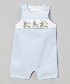 Another great find on #zulily! Blue Stripe Bunny Smocked Shortalls - Infant & Toddler #zulilyfinds