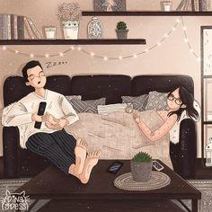 Joys Of Couple's Life In Heartwarming Illustrations pics) Cute Couple Drawings, Cute Couple Art, Cute Drawings, A Couple, Love Cartoon Couple, Cute Love Cartoons, Couple Illustration, Illustration Art, Romantic Couples