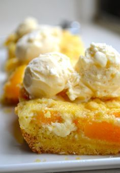 Best Cobbler You've Ever Had: 1 box Yellow Cake Mix (not baked, just the powder), 1/3 cup Butter, softened, 2 large Eggs, 30 ounces canned Peaches, drained (or 4 fresh peaches, peeled and pitted), 8 ounces Cream Cheese, 1/3 cup Sugar, 1 teaspoon Vanilla Extract