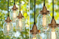 Mason jars turned pendant lights. Adorable above the bistro table on the porch! via woonblog.typepad