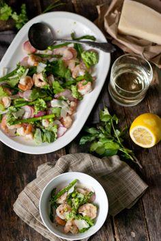 Cold Asparagus Salad- asparagus, sugar snap peas, sliced radishes, shrimp, shaved parmesan, cilantro & basil- dressed with lemon, olive oil, salt, and pepper