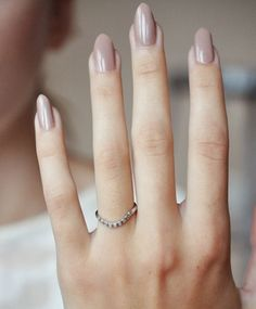 Anna Sheffield Curved Pave Tea Ring and perfect nude nails