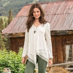 "SOUL IN MOTION TOP -- Let your free spirit soar in our easy, asymmetrical 3/4 sleeve top with layers of mesh and Swiss dot accents. Easy, forgiving silhouette. Raw-edge accents. Cotton. Machine wash. Imported. Exclusive. Sizes XS (2), S (4 to 6), M (8 to 10), L (12 to 14), XL (16). Approx. 31-3/4""L."