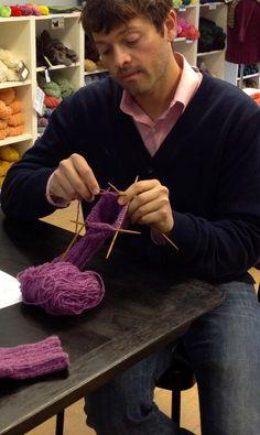 Meanwhile Misha....men knitting, nice! #supernatural