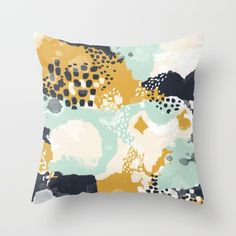 Tinsley - Abstract painting in bold, modern, bright colors Throw Pillow