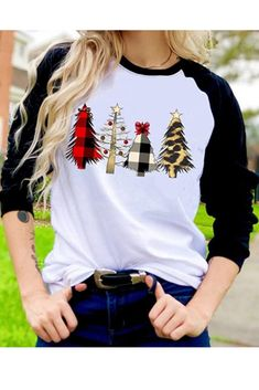 Women Christmas Shirts Plaid Printed Tree 3/4 Sleeve Baseball T Shirts Tops Blouses Save 65% – US only promo code 65IS51F5 End date: Aug 03 #offer #sale #deal #Discount