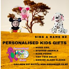 Sing A Name We at Sing A Name have a unique range of personalised children's gifts, where alarm clocks sing your name, stuffed animals can teach you your ABCs, 123s and more. You can be personalised with your face in Elmo or Mickey or can simply sing and dance while your favourite characters Spiderman, Carebears, Barney or Marvel sing a song with your name throughout. Sing A Name NZ 021 857976 www.facebook.com/singanamenz www.singaname.co.nz