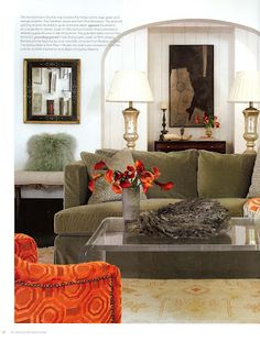 Betty Burgess Designer Uses Dreamy Olive Green Velvet Sofa With Red And Orange Hues In This Room