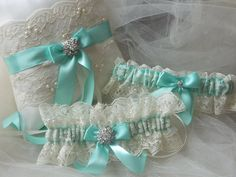 Wedding Garter And Ringbearer Set Ivory And Tiffany With Embroidery Lace And Jewel Rhinestone on Etsy, $80.57 AUD