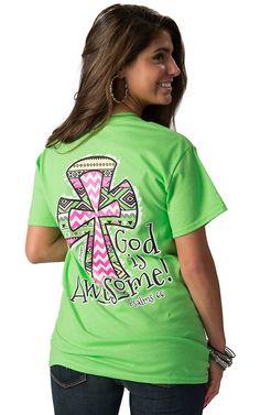 Girlie Girl Originals Women's Lime Green God is Awesome Short Sleeve Tee