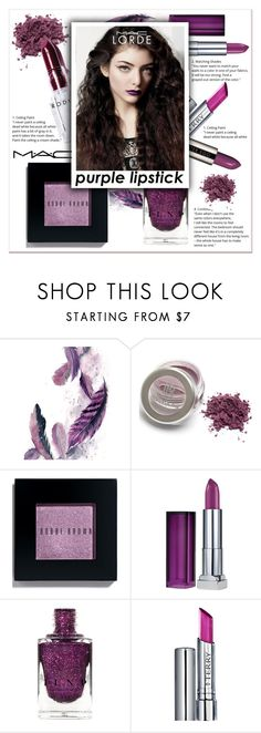 """""""Purple Lipstick"""" by ladydzsen ❤ liked on Polyvore featuring beauty, Rodin, Bobbi Brown Cosmetics, Maybelline, By Terry, MAC Cosmetics, lorde and purplelipstick"""