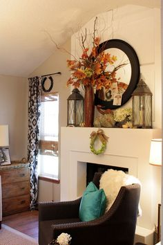 Sweet Something Designs. Such a comforting Fall mantel. Fireplace Facing, Home Fireplace, Fireplaces, House Color Schemes, House Colors, Fall Home Decor, Autumn Home, Home Living Room, Home Decor Inspiration