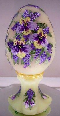 Fenton OOAK handpainted Egg Egg Crafts, Easter Crafts, Painted Rocks, Hand Painted, Fenton Glassware, Fairy Lamp, Egg Designs, Faberge Eggs, Egg Art