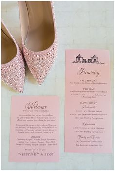 Destination weddings always need an itinerary. For these pink invitations, we did an itinerary with the events over the three day wedding weekend. We also designed a small welcome note for the guests gift baskets. Click to see all of the gorgeous details of the destination wedding.