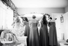 Bridesmaid and Bride getting ready black and white photo. Wedding photography. Matt Pratt photography.