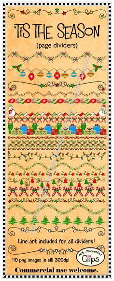 Just added! 20 Christmas page dividers, color and line art! Freebie in preview!!! 40 images in all. - Commercial use welcome. http://www.teacherspayteachers.com/Product/Clip-art-Tis-the-Season-Page-Dividers-Freebie-in-preview-972768