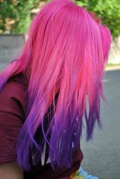 Pink and purple ombre dip dyed hair idea