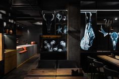 "Image 9 of 14 from gallery of Meat Restaurant ""Sazha"" / YOD design lab. Photograph by Andriy Avdeenko Design Bar Restaurant, Meat Restaurant, Restaurant Interiors, Contemporary Interior Design, Contemporary Bathrooms, Bar Design Awards, Design Blog, Retail Space, Bathroom Interior"