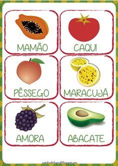 Cards de frutas com nome. Esses cards servem como jogo da memória (imprimindo cada folha duas vezes), como cartões de apresentação de cada f...