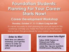 Career workshop for foundation students happening tomorrow @ 11am #GSSWCareers #KeepFlying
