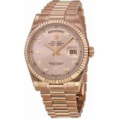 Rolex Day-Date Champagne Dial 18K Everose Gold President Automatic... found on Polyvore featuring jewelry, watches, gold jewellery, yellow gold watches, analog wrist watch, gold crown and gold wristwatch